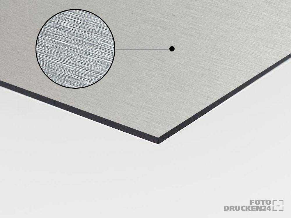 Aluverbundplatte, silber gebürstet