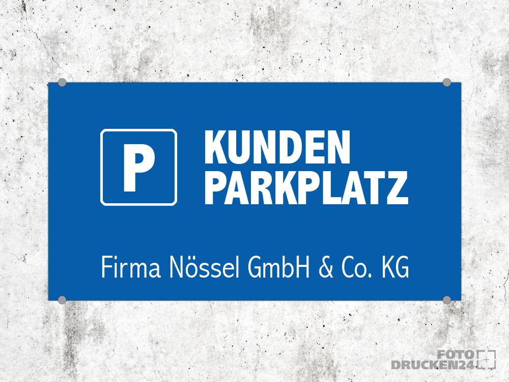 Parkplatzschild auf Kunstoffplatte drucken