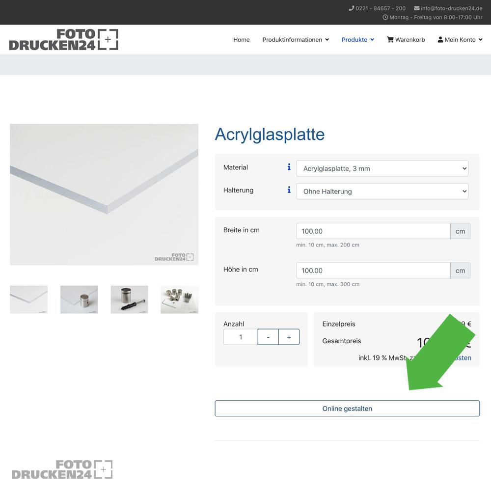Acrylglasplatte konfigurieren