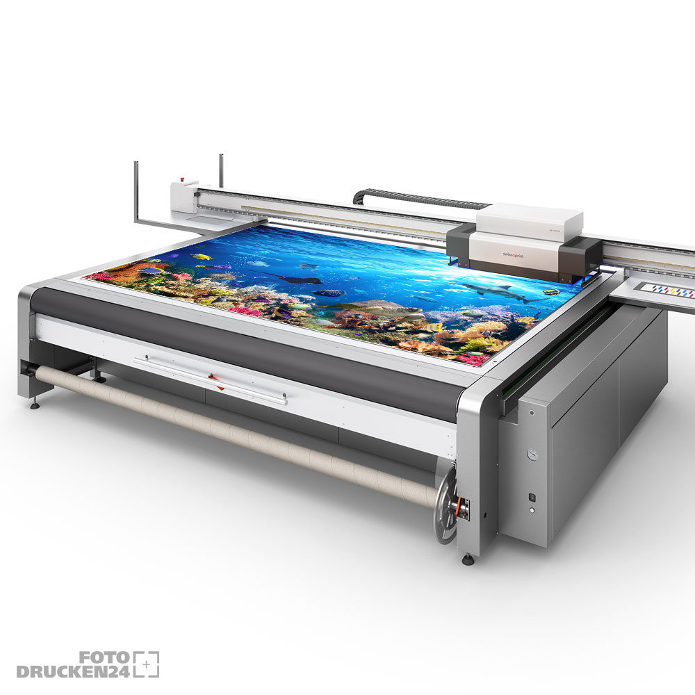 Druckmaschine bedruckt Acrylglasplatte
