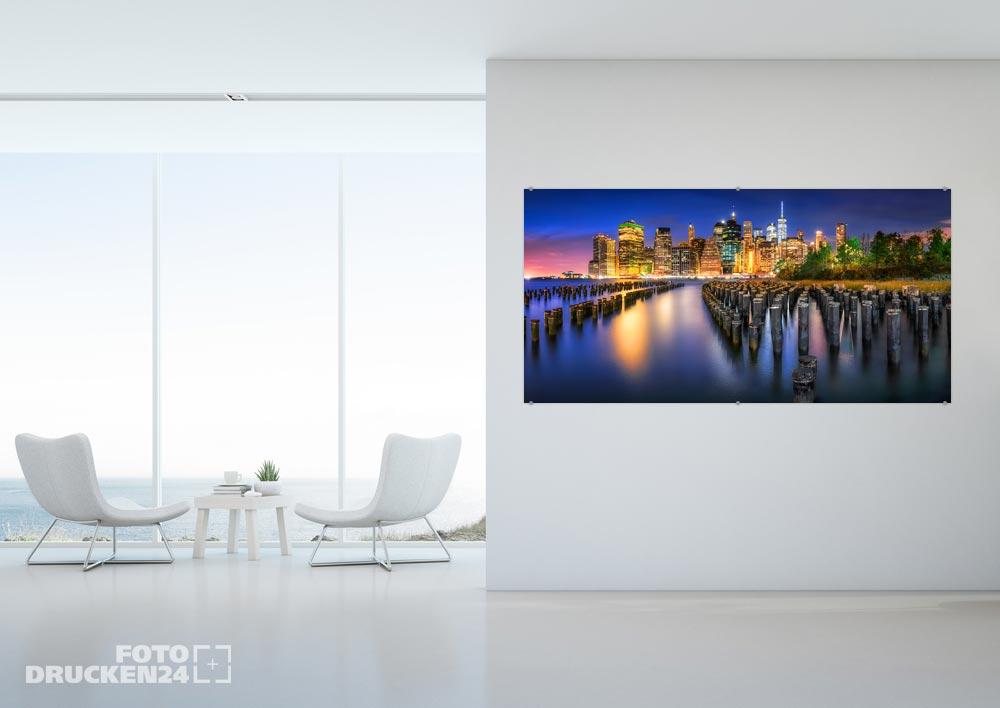 Acrylglasfoto mit Skyline-Motiv